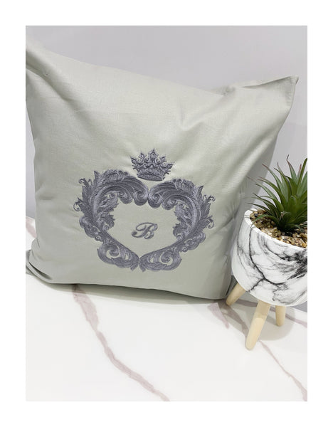 Grey Personalised embroidered cushions