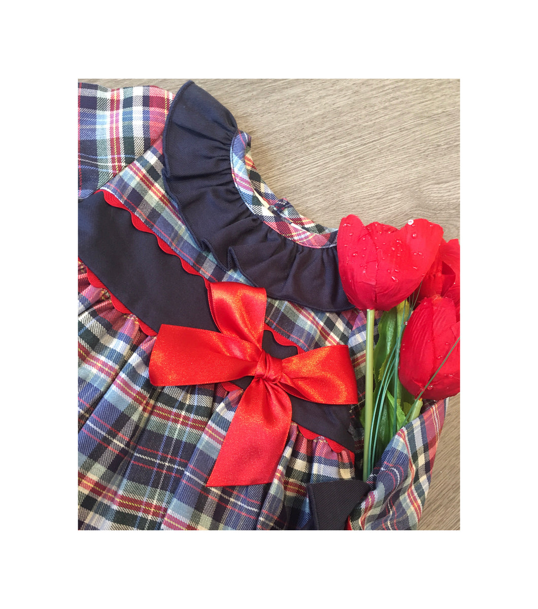 Navy tartan dress