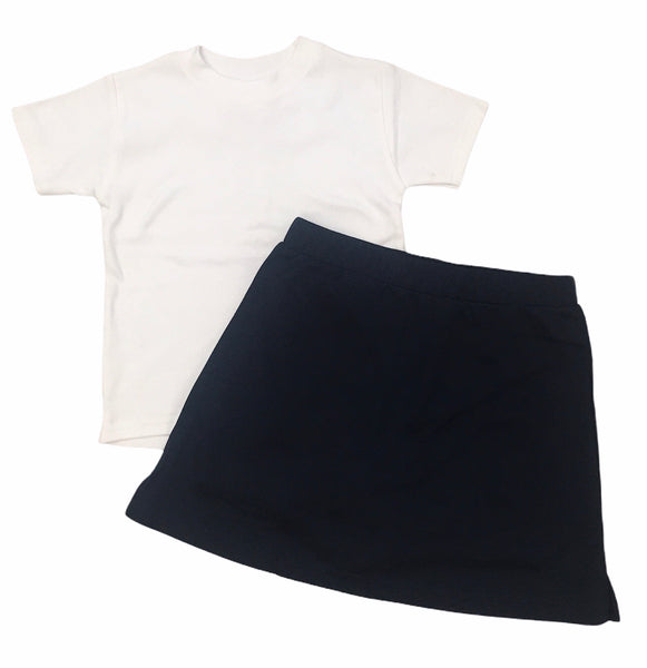 Navy skirt and t-shirt set