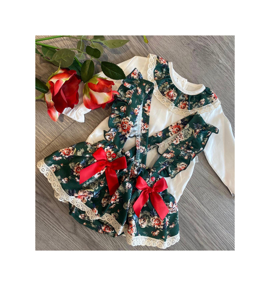Emerald green floral dungaree set