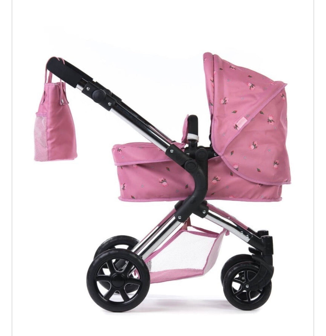 Roma darcie single dolls pram in pink