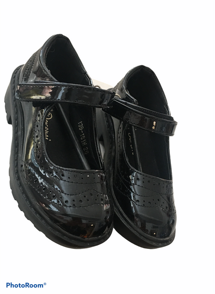 Black patent velcro school shoes