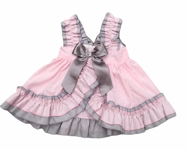 grey and pink dress with bloomers