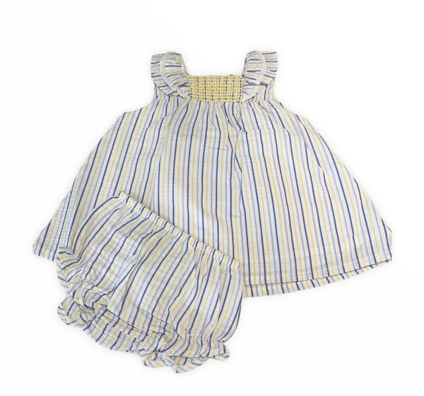Girls linen striped dress and matching pants