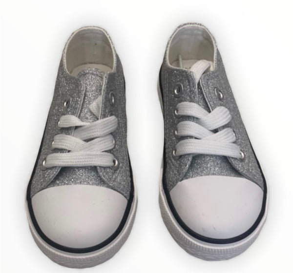 Silver sparkle converse style shoes