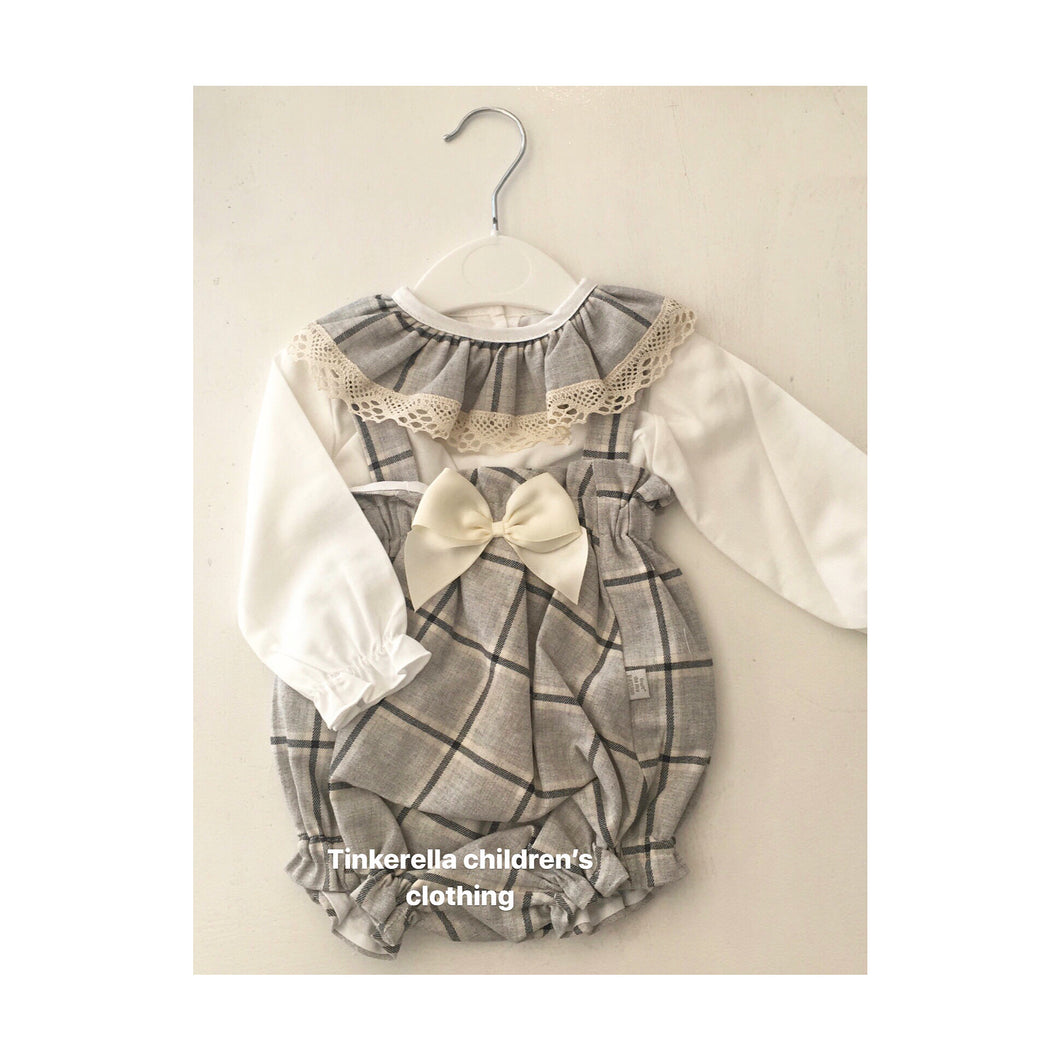Grey checked Spanish romper set