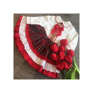 Tartan tu-tu skirt with traditional style shirt with bow and lace detail