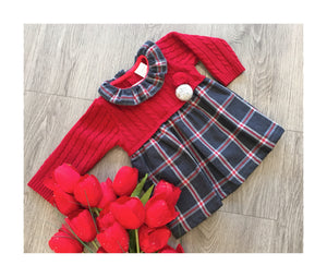 Grey and red checked dress with collar and Pom Pom detail
