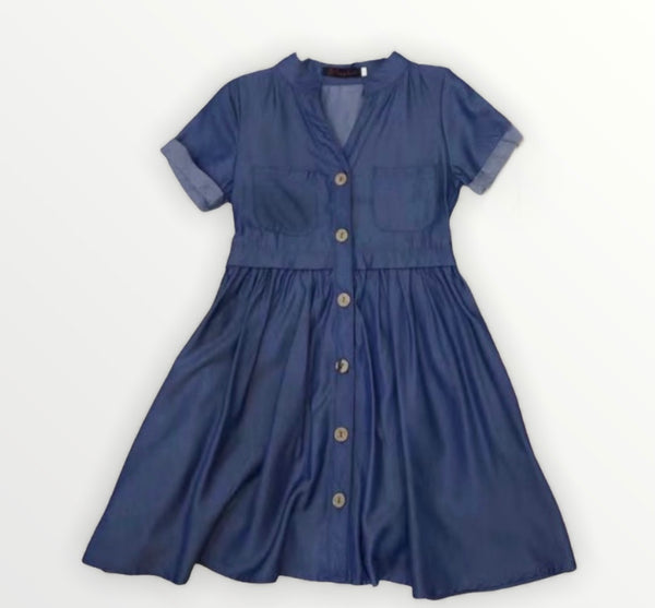 Girls blue denim look summer dress