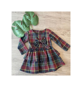 checked warm dropwsist dress