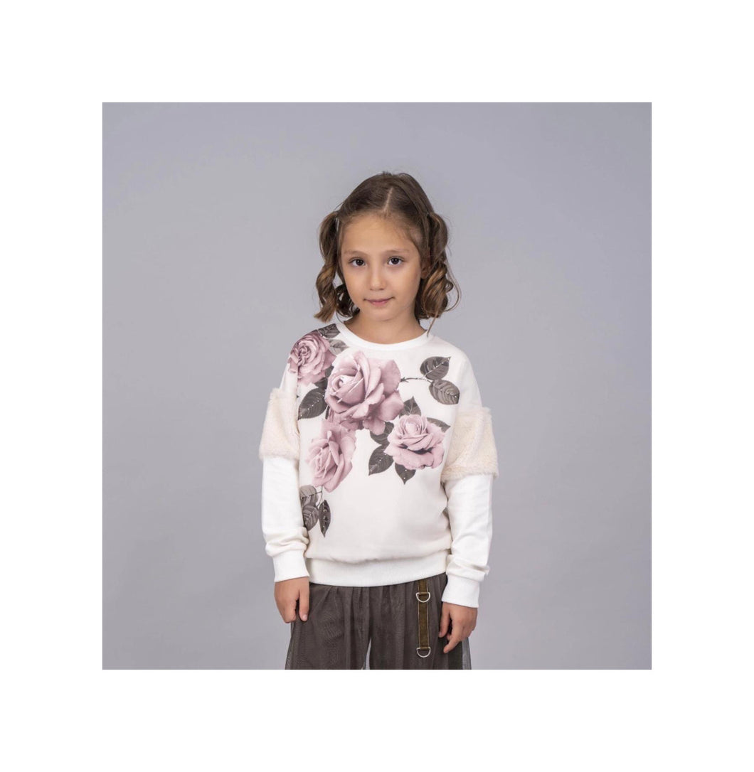 Cream rose detail jumper with fur trim on sleeve