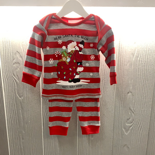 Grey and red striped Christmas pjs