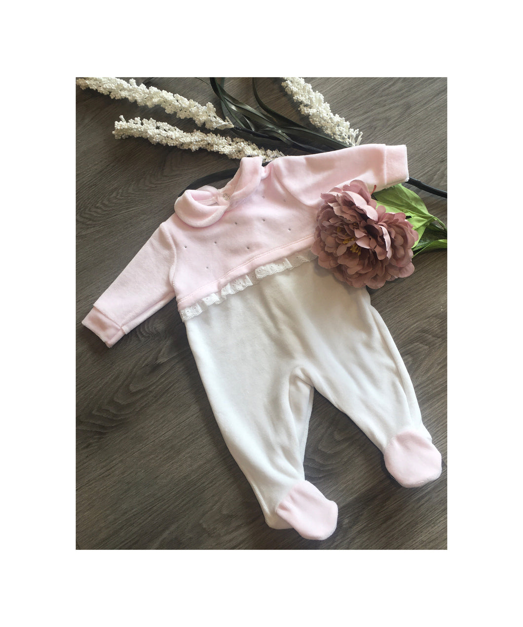Pink and white velour romper