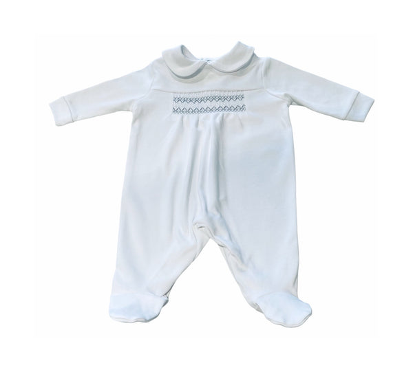 Baby romper with smocking detail in white