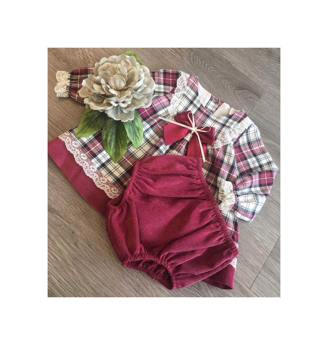 Red checkered dress with lace and bow detail and jam pants