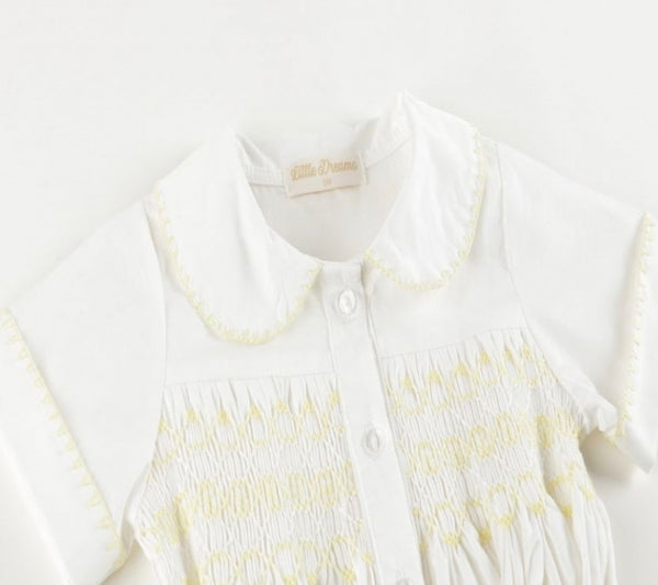 Beautiful hand smocked shorts and shirt set