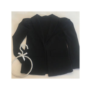 Black puff sleeve blazer