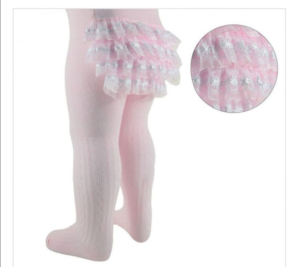 Pink frilly bum tights