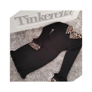 Girls black and leopard print dress
