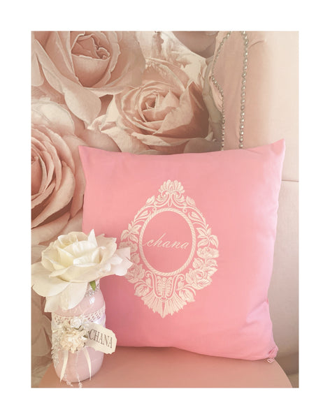 Pink Personalised embroidered cushions