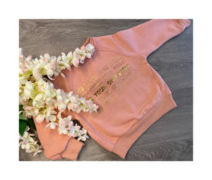 "blush pink ""live your own story "" jumper"