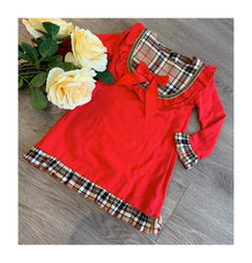 Red dress with checkered collar