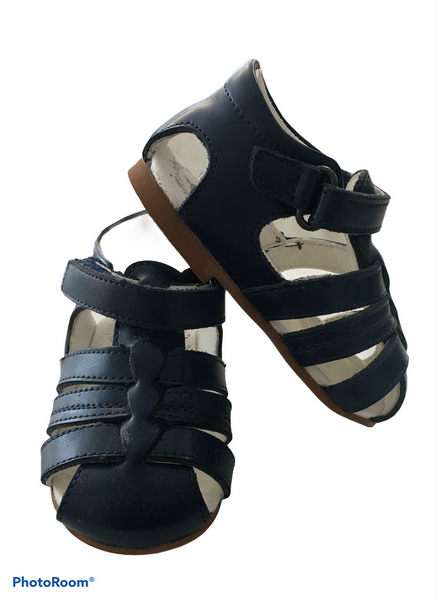 Navy real leather Spanish sandals