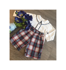 Blue and red checkered shorts with traditional shirt