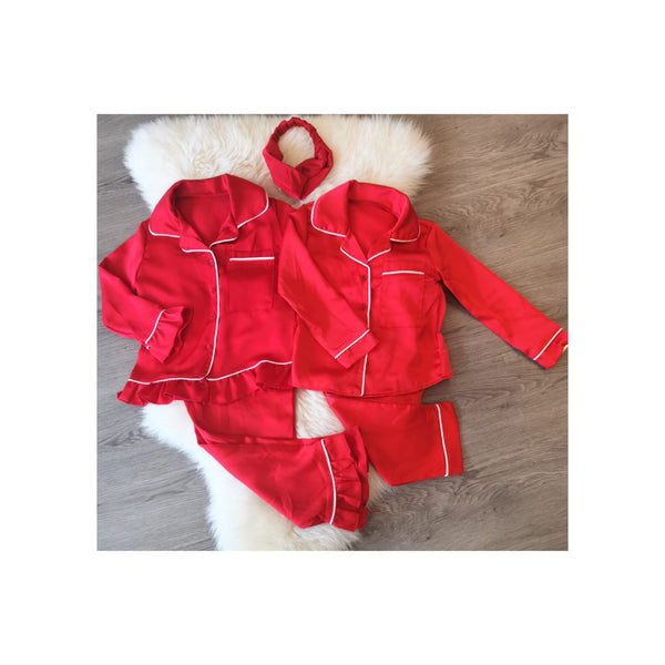 Red 3 piece matching girls pjs