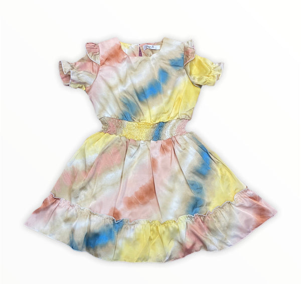 Tie dye silky dress with elastic waist band