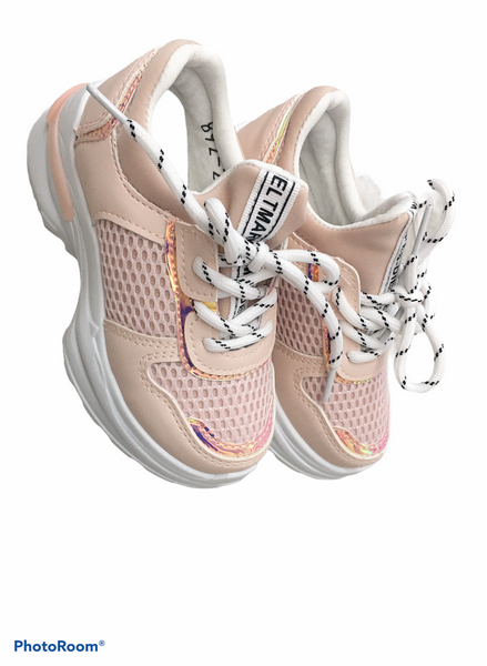 Pink platform trainers with metalic detail