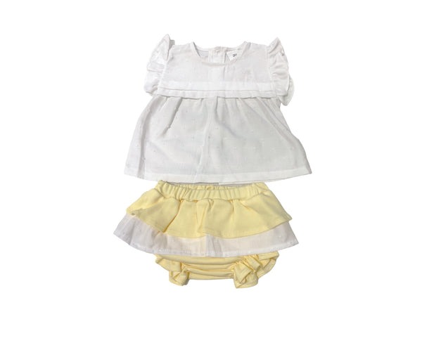 Girls yellow frilly jam pants set
