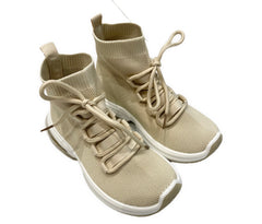 Pull on high top trainers in beige