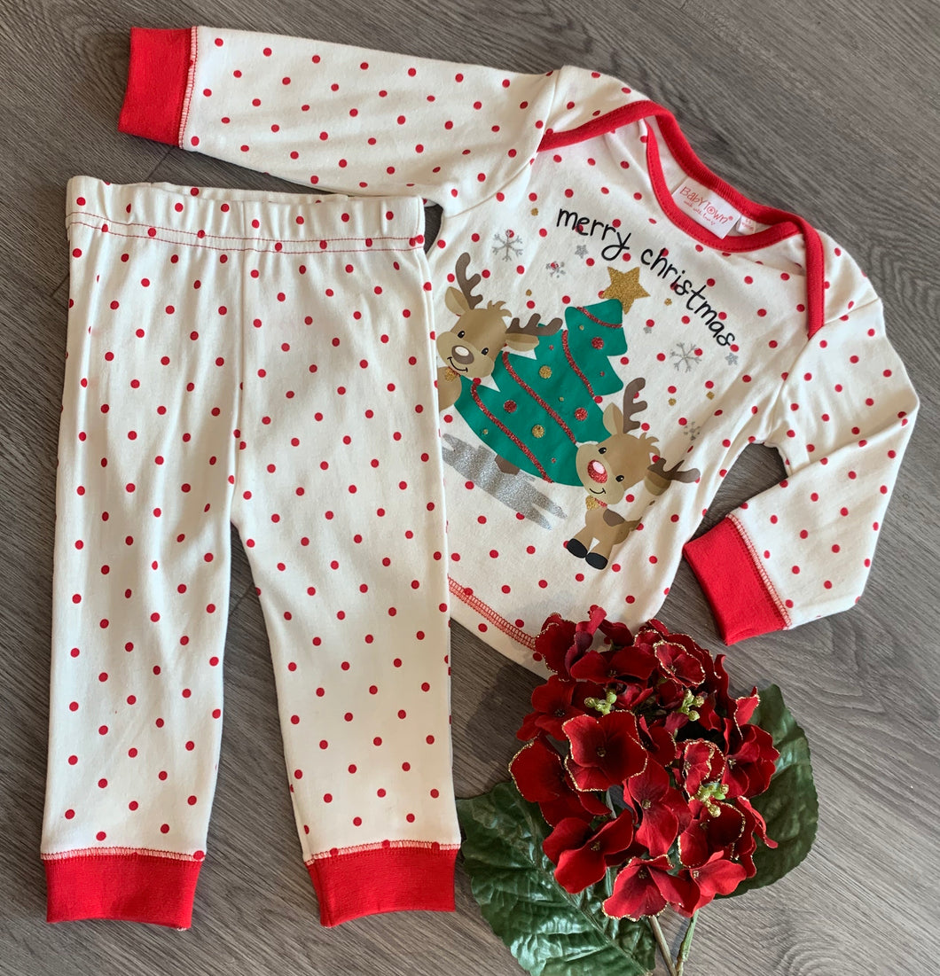 Red and white poker dot Christmas pjs