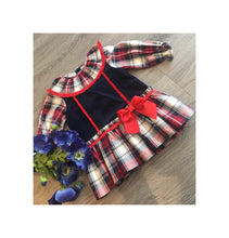 Load image into Gallery viewer, Navy and red tartan style dress