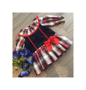 Navy and red tartan style dress