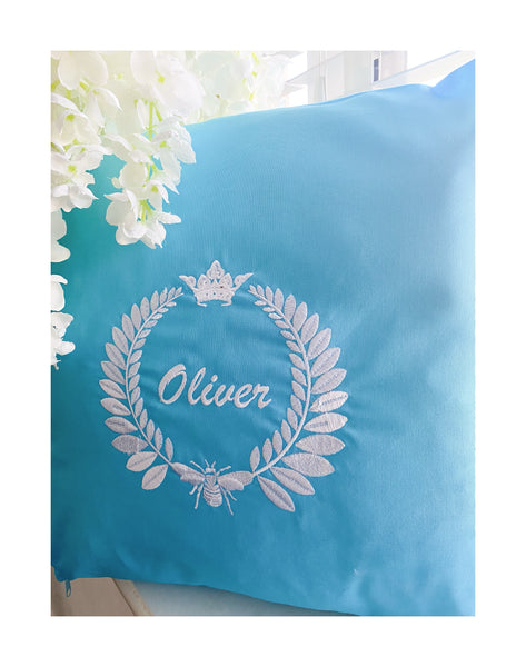 Blue Personalised embroidered cushions