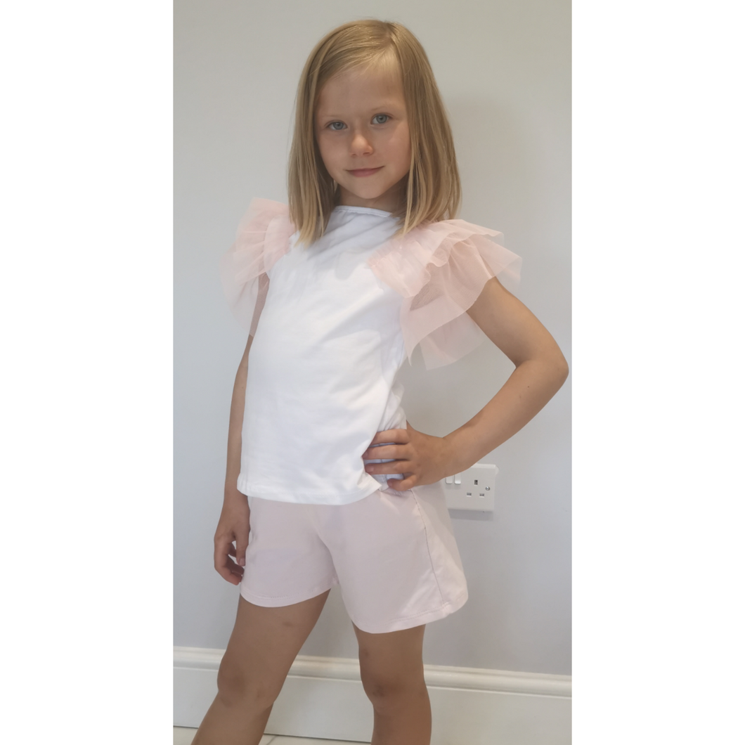 Girls white top with pink shorts and shoulder detail