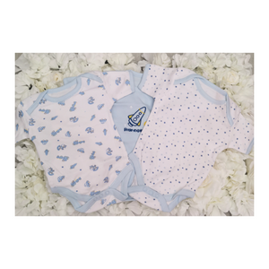 baby boys 3 pcs body suit set in blue