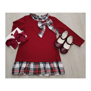 Burgandy dress with tartan bow and trim detail
