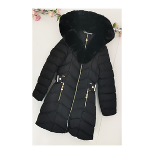Quality black fur trim winter coat