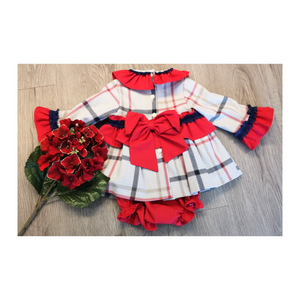Red checked dress and jam pants set
