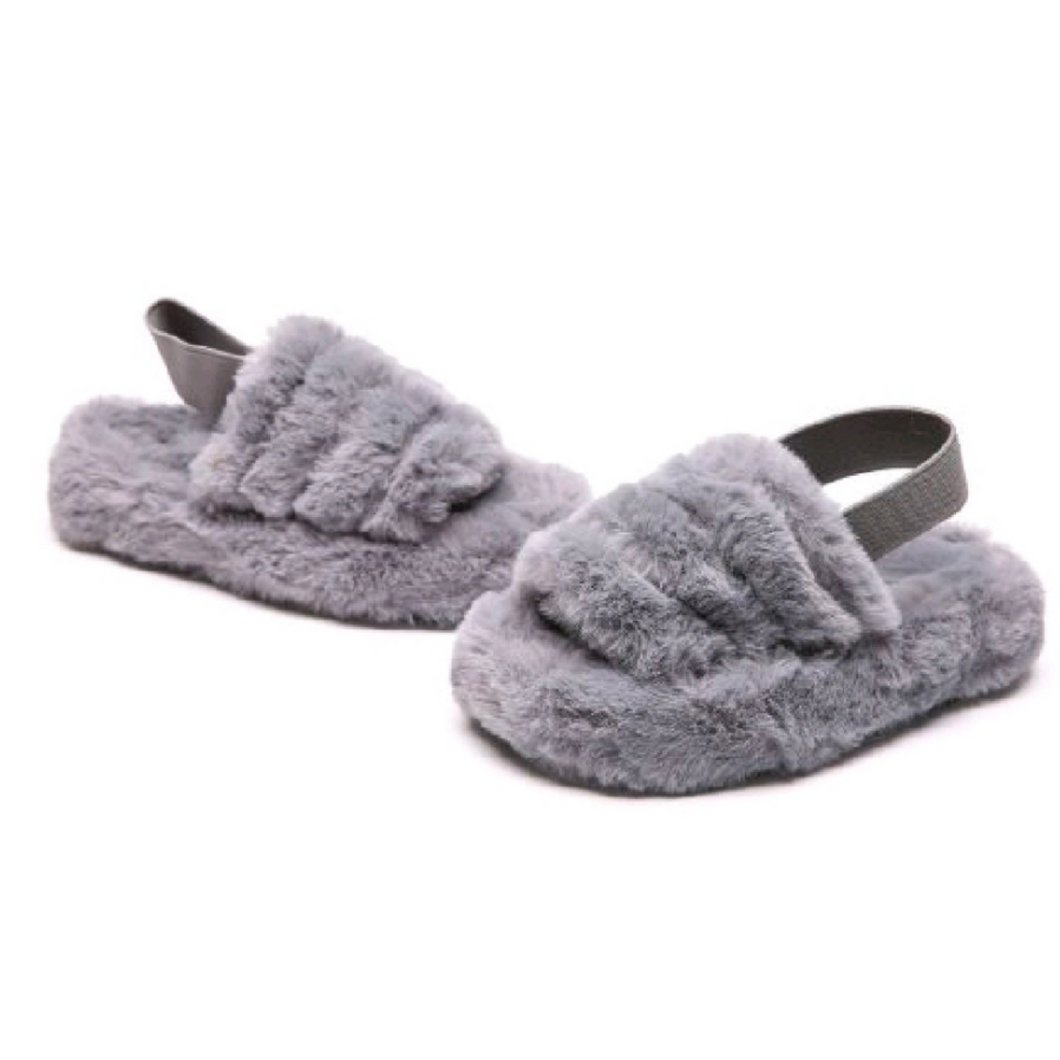 Grey fluffy slippers elastocated back