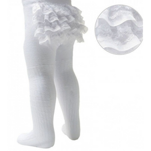 Baby girl frilly bum white tights