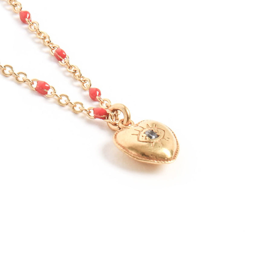 Collier Coeur Rouge or