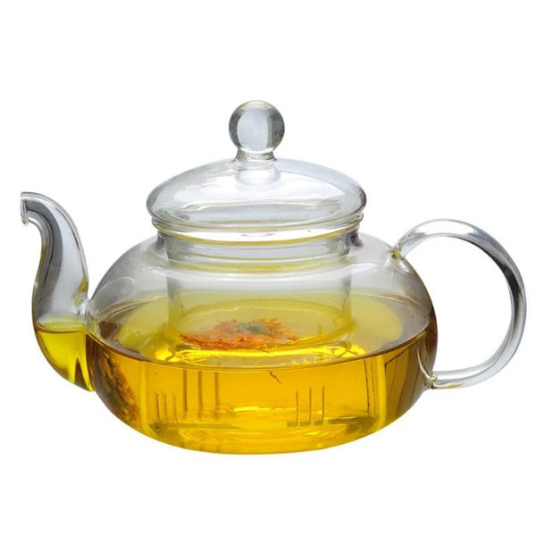 Heat Resistant Glass Teapot Tea Pot Infuser Round Elegant