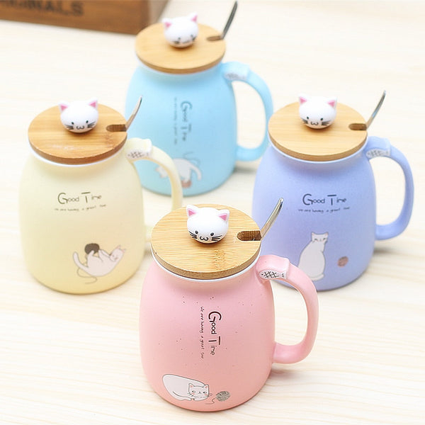 Ceramic Cat Mug Lid Spoon Tea Teacup Kawaii Kitty Kitten