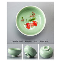 Chinese Porcelain Celadon Fish Tea Cup