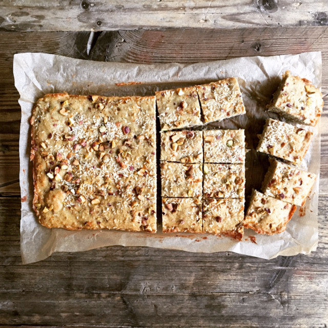 Gluten-Free Spiced Carrot, Coconut & Walnut Squares