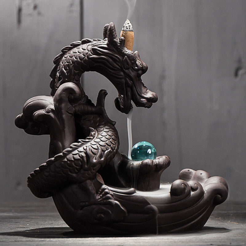 Dragon with Crystal Ball Backflow Incense Holder + 20Pcs Incense Cones